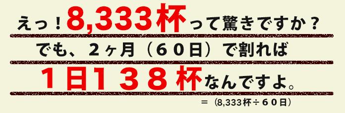 えっ!6,666皿って驚きですか?でも、2ヶ月(60日)で割れば1日111杯なんですよ。